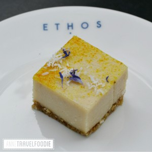 raw vegan lemon square at Ethos London