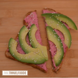 red beet hummus avocado