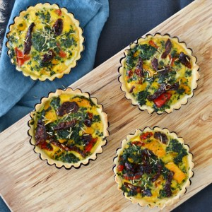 Vegetarian mini quiches sundried tomatoes