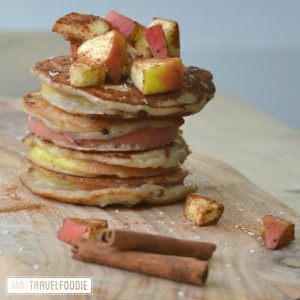 vegan apple ring pancakes