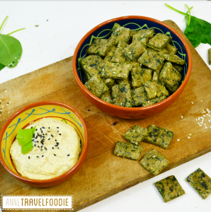 Matcha spinach crackers vegan annetravelfoodie