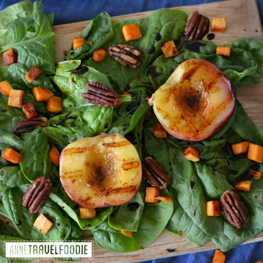 grilled peach salad vegan and gluten free