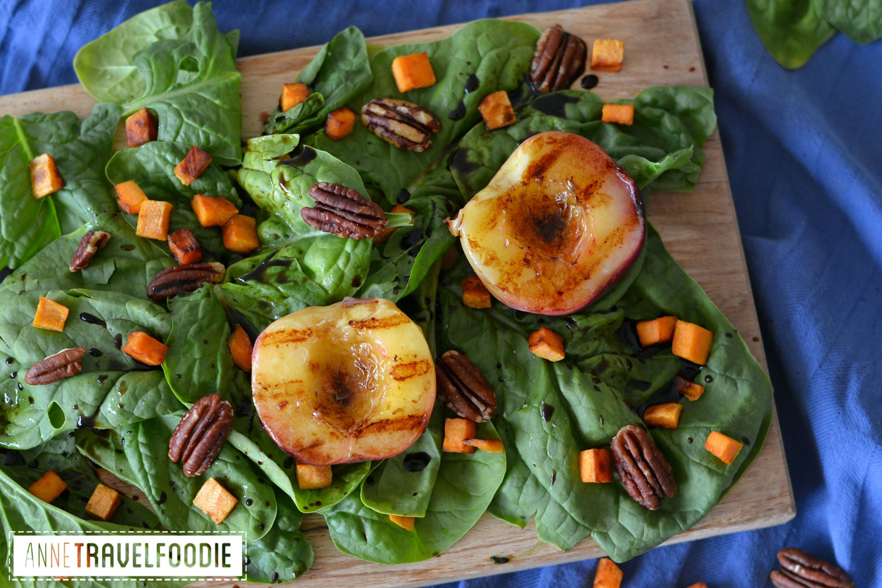 grilled peach salad vegan, gluten free
