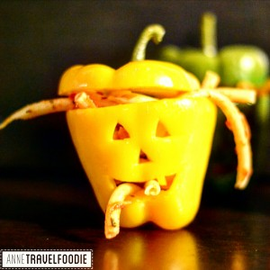 vegan halloween stuffed bell pepper jack-o lanterns