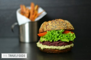 vegan red beet burger with sweet potato fries