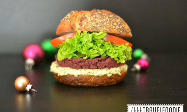 veggie red beet christmas burger annetravelfoodie