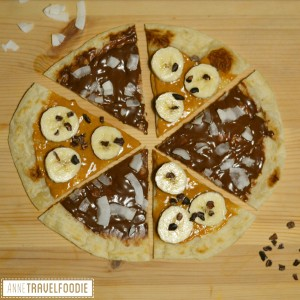dessert pizza piadina with nutella and peanut butter