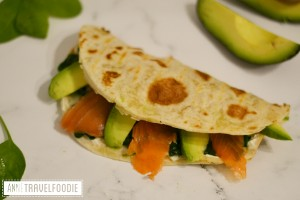 salmon piadina with spinach and avocado anne travel foodie