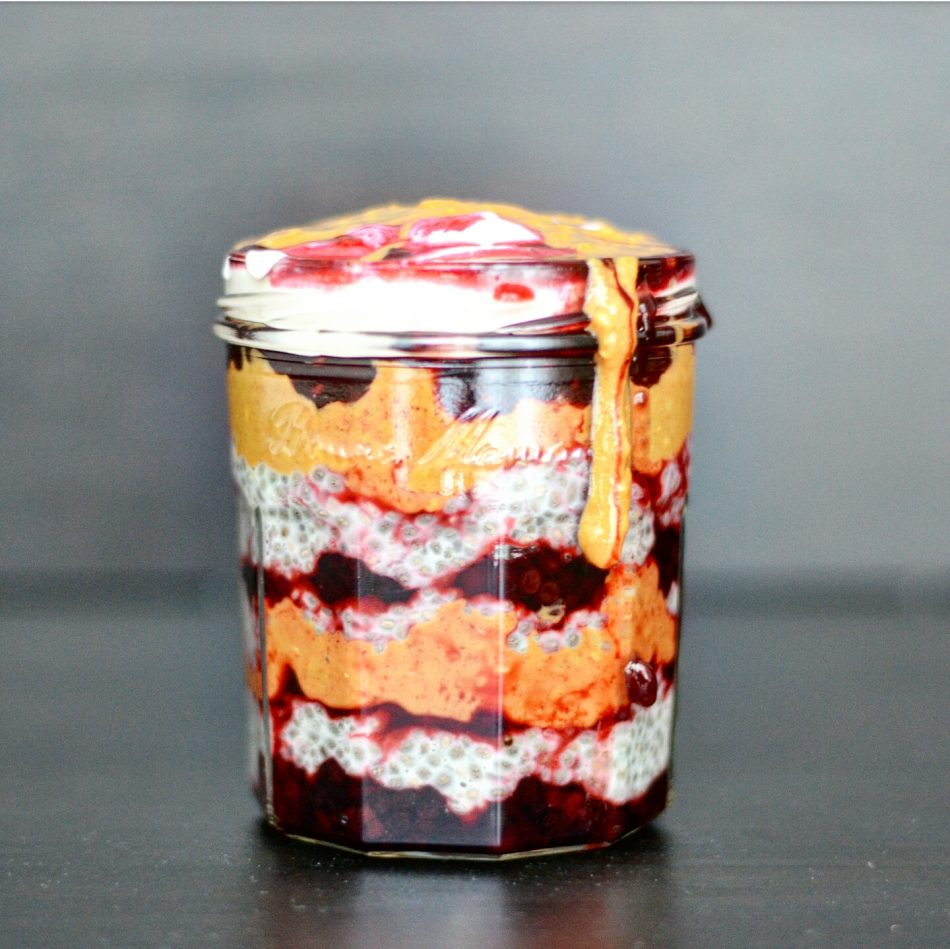 Peanut Butter Jelly Chia Pudding