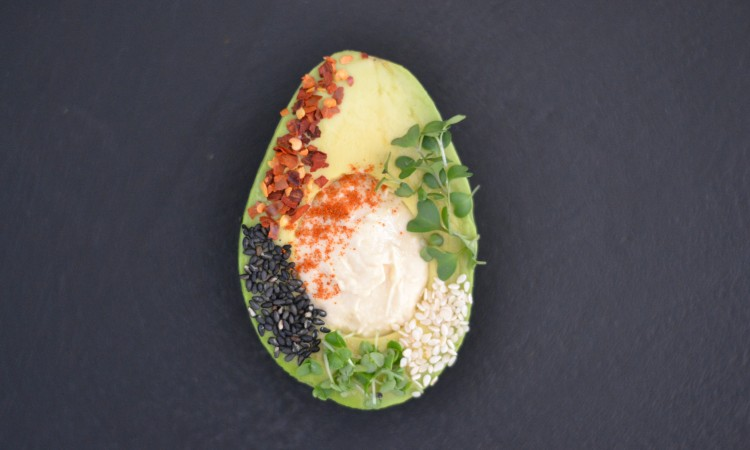 avocado with sprouts