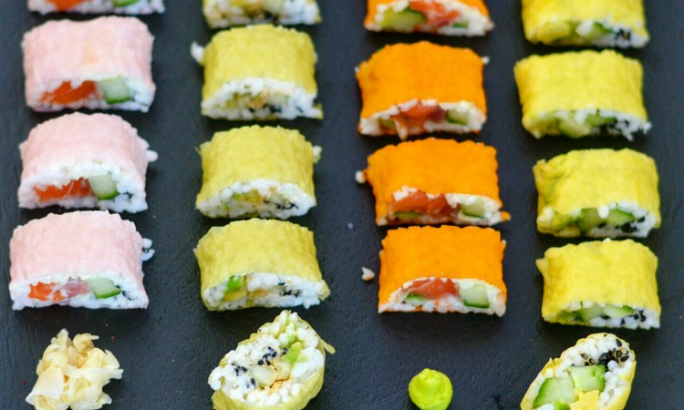 rainbow sushi colored nori sheets