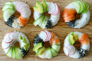 sushi donuts with salmon