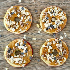 vegan apple rings with peanut butter