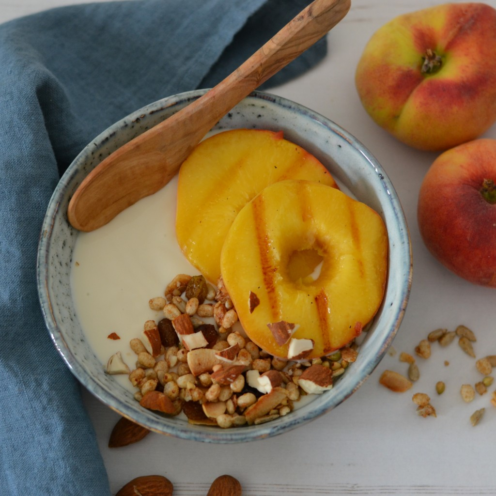 grilled peach vegan breakfast bowl