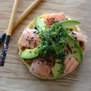 sushi pizza avocado salmon