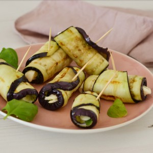grilled aubergine rolls vegetarian barbecue