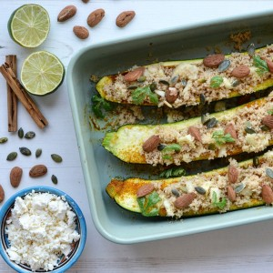 vegan courgette boats couscous recipe