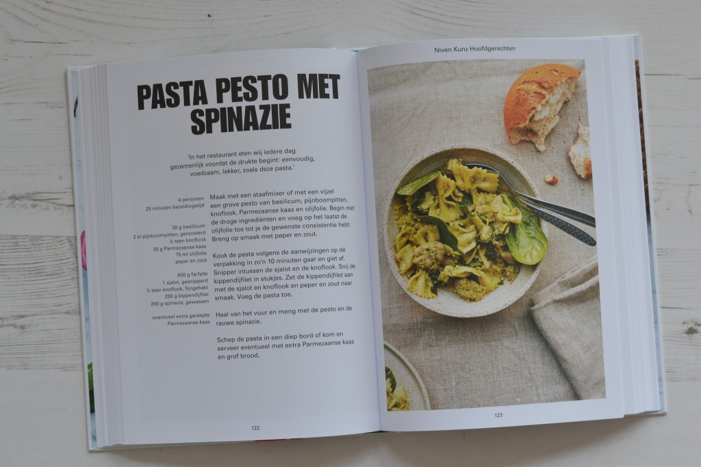 niven kunz recept pasta pesto spinazie