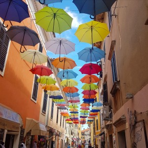 novigrad umbrella street croatia