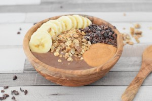 vegan peanut butter banana nice cream bowl