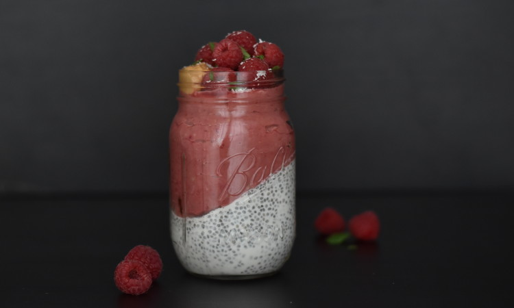 green kitchen at home chia pudding raspberries