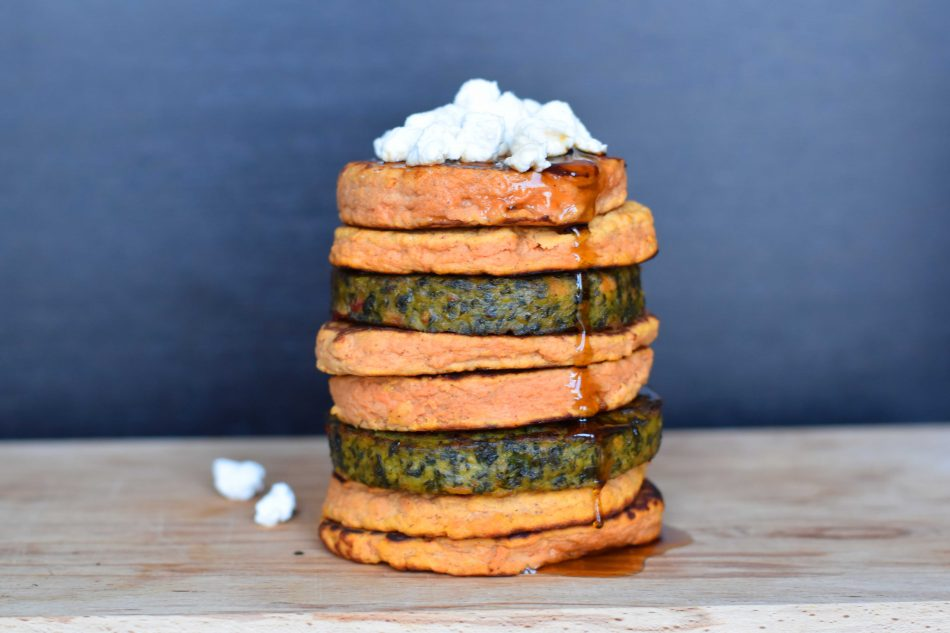 Kale burger with sweet potato pancakes - Anne Travel Foodie