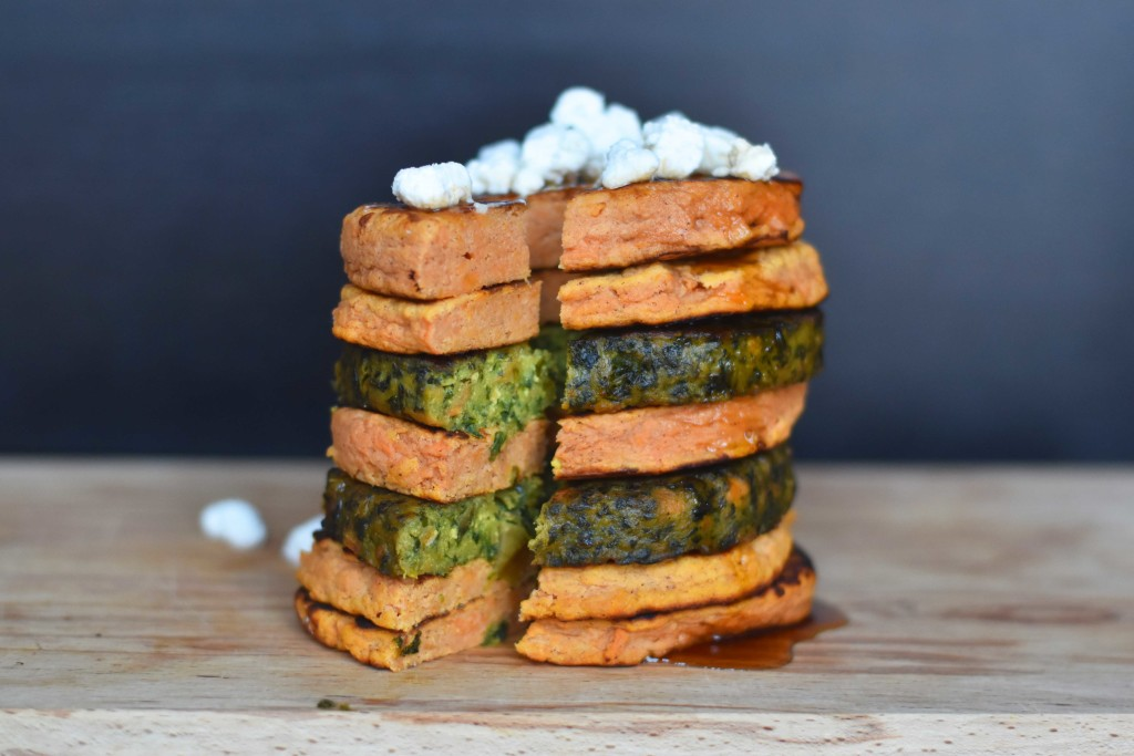 sweet potato pancake stack kale burger